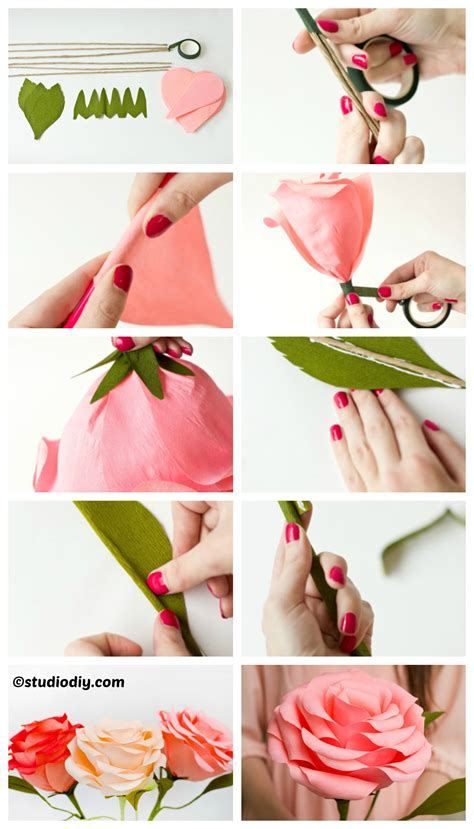 how to make and craft with paper crepe paper roses diy home tutorials