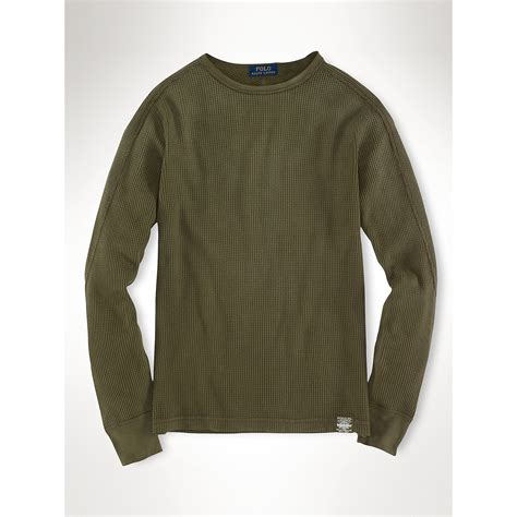 waffle knit thermal polo ralph waffle knit crewneck thermal in green