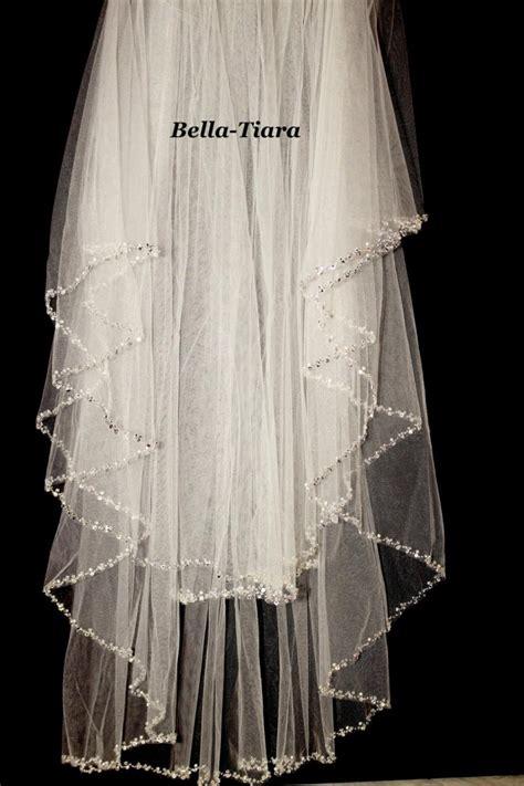 beaded wedding veil beaded edge wedding veil two tier pearl