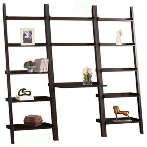 leaning bookshelf desk the wall furniture leaning ladder book shelves