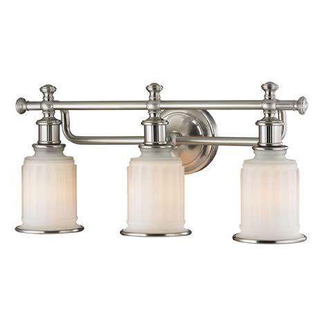 brushed nickel bathroom light elk 52002 3 acadia brushed nickel 3 light vanity lighting