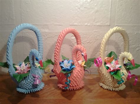 origami gift basket 3d origami swan basket with flowers