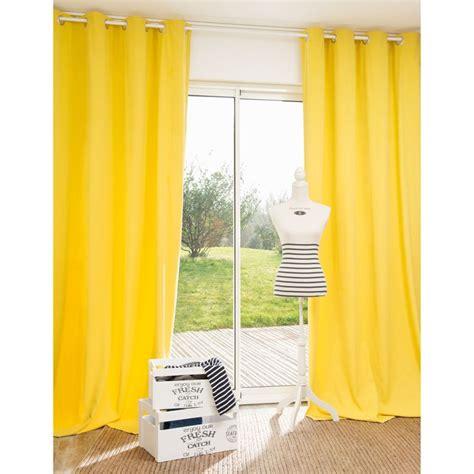 rideau 224 œillets en coton jaune moutarde 140 x 250 cm pornic 44 99 rideaux