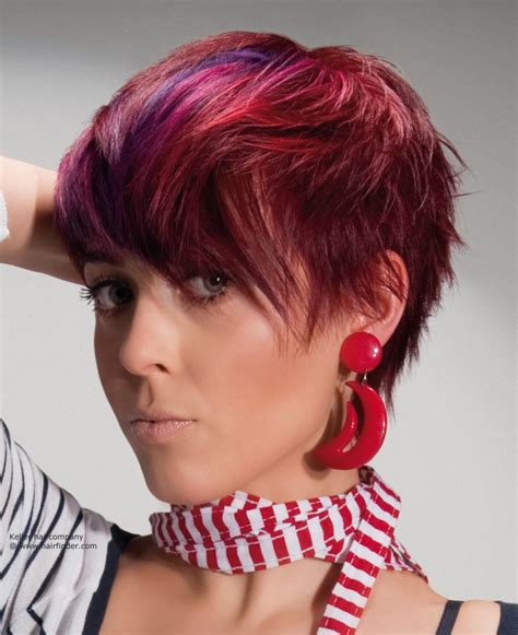 and hairstyles layered haircut with bright hues purple and