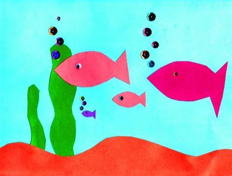 paper pasting craft paper aquarium easy cutting and pasting activity ellas