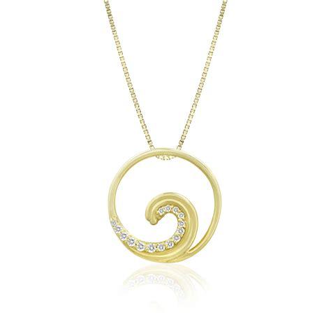 jewelry companies 14k yellow gold studded wave pendant