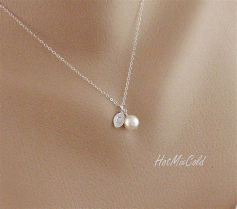simple jewelry silver monogram pendant necklace pearl initial leaf