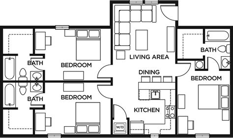 3 bedroom 2 bathroom floor plans 3 bed 3 bath standard the lodges of east lansing