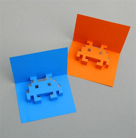 how to make an awesome pop up card spaceships and spice make your own 8 bit pop up cards