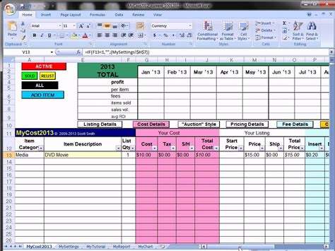 ebay profit track sales excel spreadsheet ebay spreadsheet