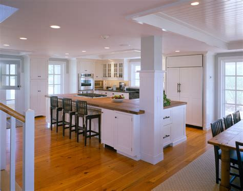 kitchen island with columns dining room traditional kitchen boston by polhemus savery dasilva