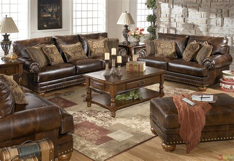 traditional brown bonded leather sofa loveseat living room