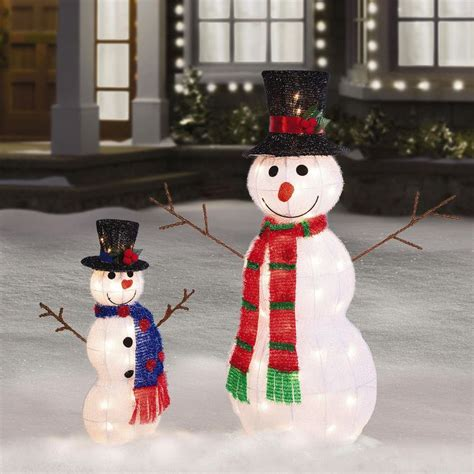 outdoor illuminated decorations 35 quot 21 quot pre lit tinsel snowman outdoor