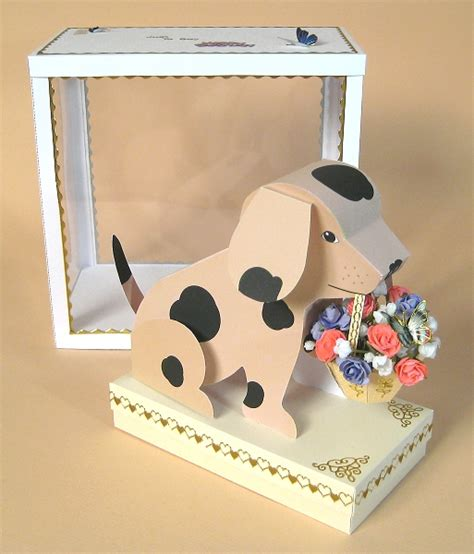 craft card a4 card templates quot barney quot 3d with basket