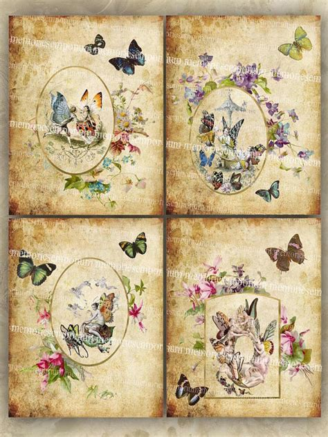 antique decoupage butterfly clipart shabby chic decoupage antique flower