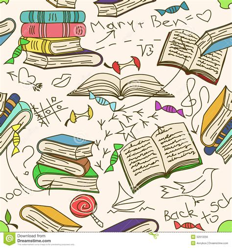 pattern picture books doodle seamless pattern of books and children royalty free