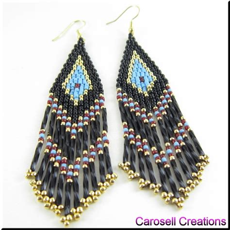 how to indian bead american seed bead fringe earrings by
