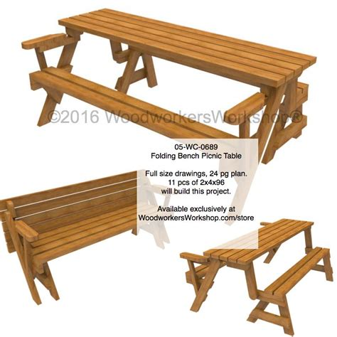 woodworking plans picnic table 05 wc 0689 folding bench picnic table woodworking plan