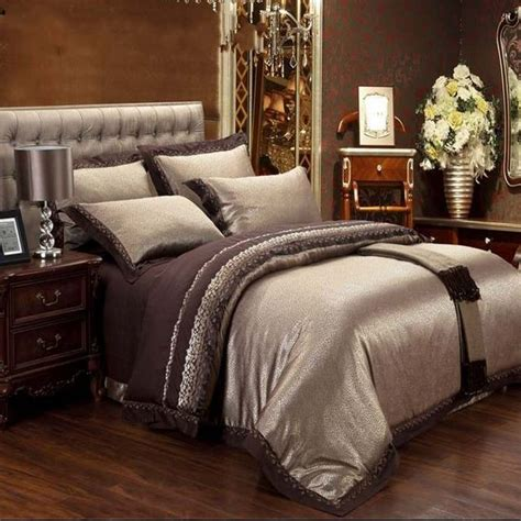 home bedding sets jacquard silk bedding set luxury 4pcs brown satin duvet