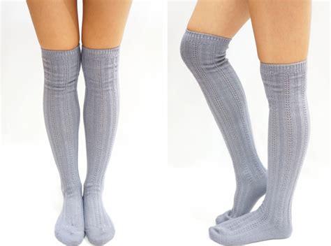 knitted knee high socks stripe knit knee high socks light grey on luulla