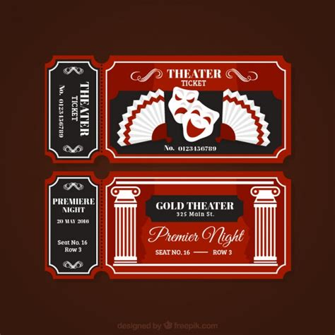 vintage theater tickets vector premium download