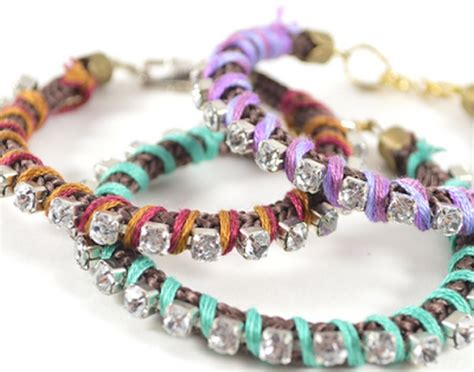 unique crafts unique idea for rhinestone wrapped bracelet recycled things