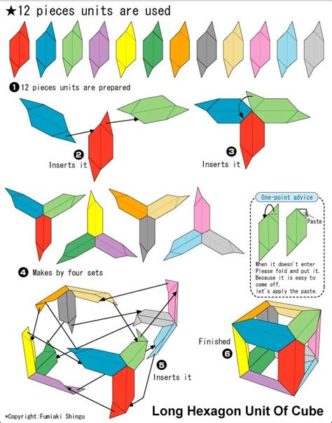 how to make origami cube origami hexagon unit of cube origami