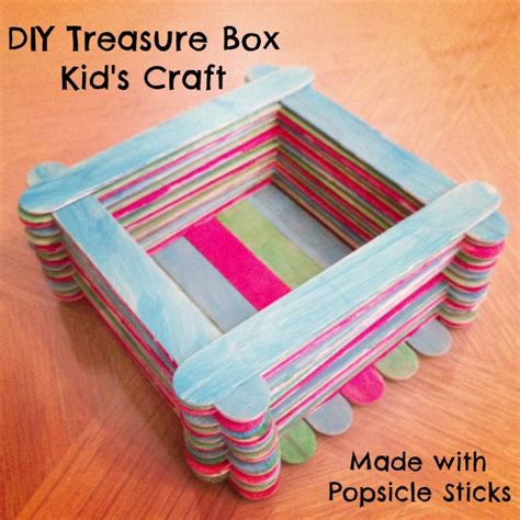 kid craft box popsicle stick treasure box lesson plans