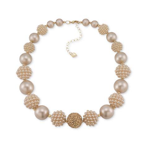 statement beaded necklace carolee goldtone imitation pearl beaded statement necklace