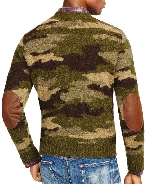 camo knit sweater ralph polo camo crewneck sweater in green for