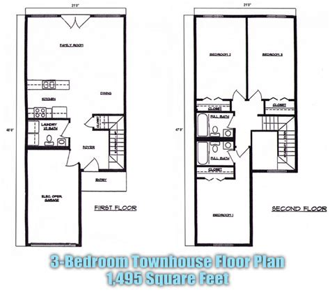 3 bedroom townhouse plans townhouse floor plans 3 bedroom 2 picture to pin on