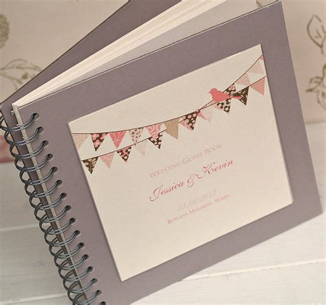 picture guest book bunting design personalised wedding guest book by