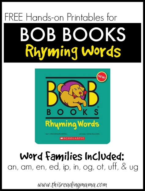 words and pictures book free bob books rhyming words printables