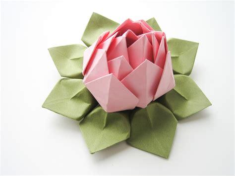 origami lotus blossom handmade origami lotus flower blossom pink and moss green