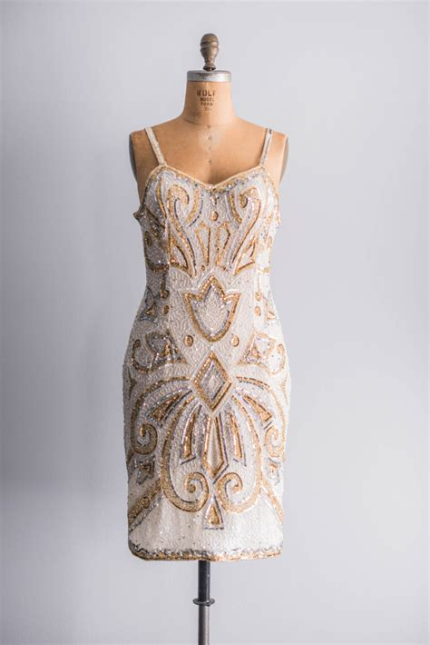 beaded gold dress vintage gold beaded bridesmaid dress onewed