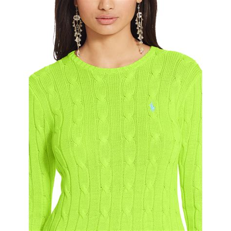 cable knit ralph sweater polo ralph cable knit crewneck sweater in green lyst