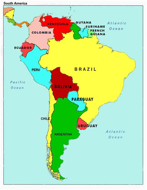 south american map of south america countries and capitals map of south