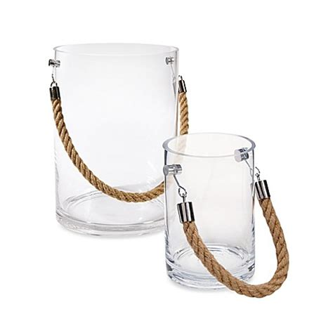 Glass Candle Holder With Rope by Clear Glass Candle Holder With Rope Handle Bed Bath Beyond