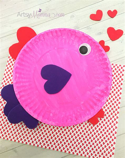 paper valentines crafts paper plate s day fish with shapes artsy