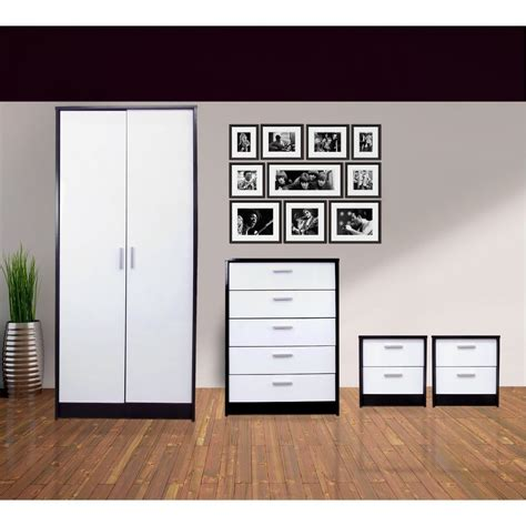 white and black bedroom furniture new high gloss black white 4 bedroom set with 2