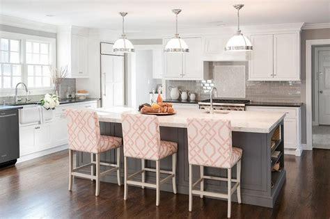 kitchen island counter stools gray kitchen island with pink trellis counter stools transitional kitchen