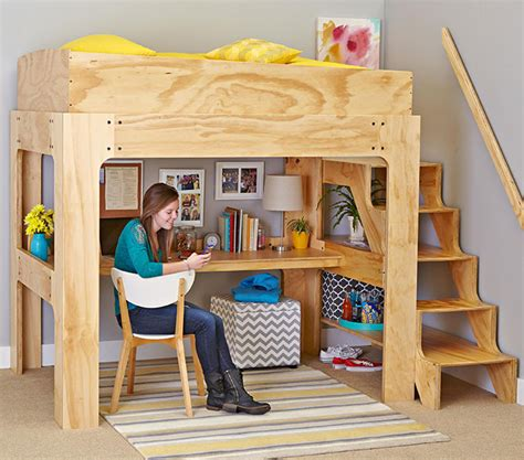 bed plans woodworking loft bed and desk woodworking plan from wood magazine