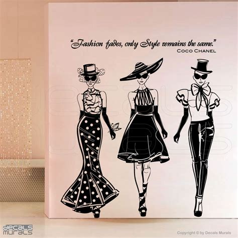 fashion wall stickers wall decals fashion models with coco chanel quote surface
