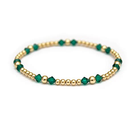 swarovski bead bracelet emerald swarovski crystals and 14 ct gold beaded bracelet