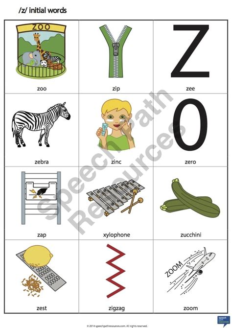 words with z z initial words speech path resources