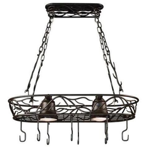 lighted hanging pot racks kitchen kenroy home twigs 58 in 2 light bronze pot rack 90308brz