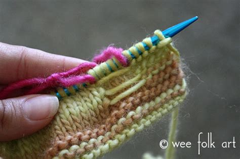knitting carrying yarn knit butterfly stitch pattern and tutorial 187 wee folk