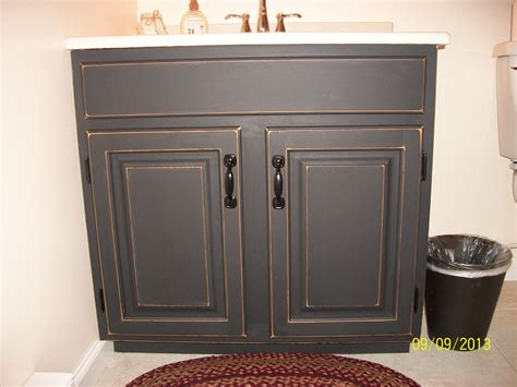 Distressed White Bathroom Cabinets by Finished Bathroom Vanity Cabinet With Black Chalkboard