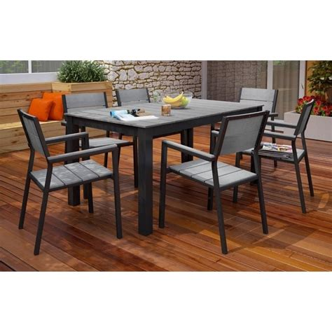 gray patio furniture sets modway maine 7 outdoor dining set in brown and gray eei 1749 brn gry set