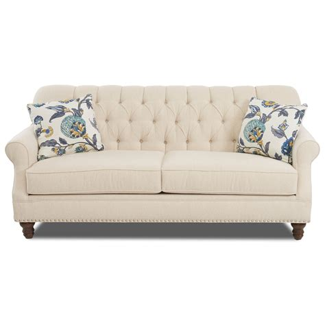 tufted sofa with nailheads klaussner burbank traditional tufted apartment size sofa